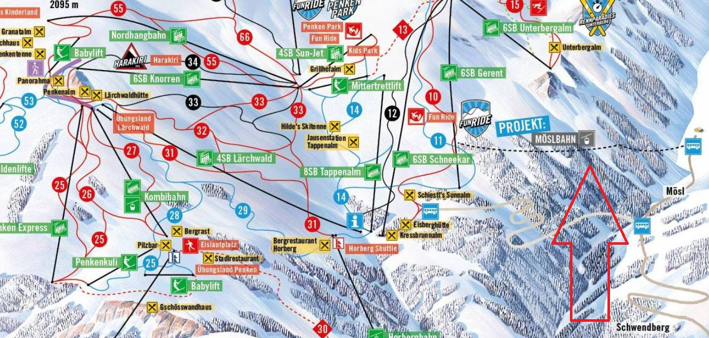 From Schwendberg directly to the Penken-Mayrhofen ski area! NEW! The Möslbahn Gondel, brings you directly to the Mayrhofen ski area